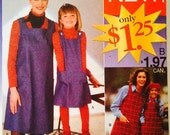 Uncut, Simplicity Mother Daughter Jumper Dress Sewing Pattern 7391, Woman's XS-XL, Child 3-8, Matching Outfits, Easy to Sew