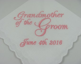 Grandmother of the Groom - Embroidered Handkerchief - Wedding Gift - Simply Sweet Hankies