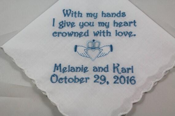 Wedding Handkerchief - Embroidered - Irish Claddagh - Wedding Gift - Simply Sweet Hankies