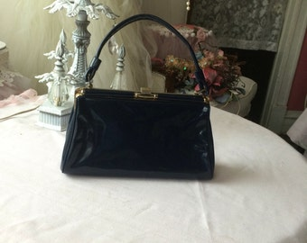 Petite Navy Blue Patent Leather Purse
