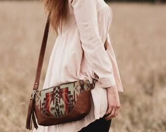 Leather & Pendleton Crossbody Bag // Bohemian // Tribal
