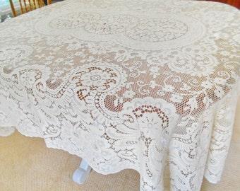 "Vintage Quaker Lace Tablecloth Ivory Large 68"" X 80"" Unused"