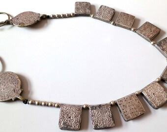 Rare Antique vintage tribal Moroccan IDA ou SEMLAL Silver on Brass amulet Hirz pendant fibula TIZERZAI necklace