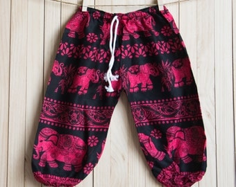 Kid's Red Elephant Printed Cotton Pants /Gypsy Pants/Aladdin Pants/Genie Pants/Yoga Pants /Thai Pants Size-M