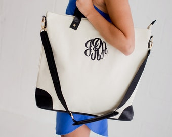 Monogrammed tote bag, personalized zipper tote bag