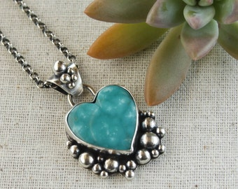 Bohemian Heart Turquoise Necklace, Sterling Silver Jewelry, Southwestern Pendant