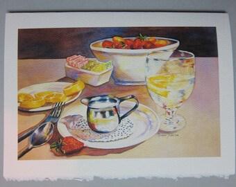 Still Life Lemon N Things, 5 x 7 Note Card Watercolor print by WatercolorsNmore