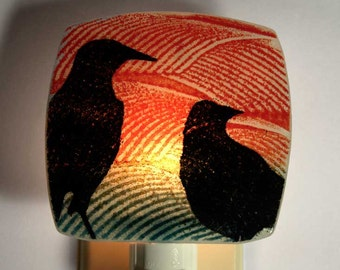 Two Crows Night Light Made with Recycled Windows