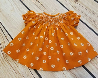"15"" Doll ""I Love Tigers"" Smocked Bishop Dress (ready to ship)"