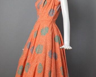 "SALE 35% OFF 1950s SUMMER Batik bohemian cotton circle skirt print mid century party Dress vlv rockabilly vintage 28"" waist"