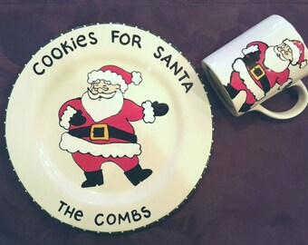 Jolly Santa cookie plate and Mug-Christmas Gift for Child-Personalized Gift-cookies for Santa - milk for Santa-Santa plate and mug set
