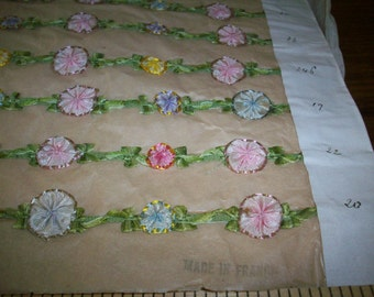 French antique samples of garland ribbon work silk or rayon