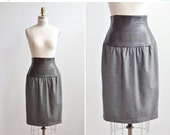 30% OFF STOREWIDE / SALE / Vintage 1980s Escada leather and wool pencil skirt