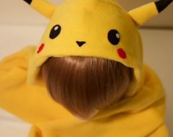 Pikachu Hoodie Scarf | Handmade | Pokemon Costume | Pikachu Scoodie | Pikachu Scarf | Pokemon Hoodie