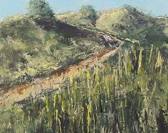 Original acrylics painting path in Dutch Dunes near North Sea  30 x 30 x 3 cm cm / 12 x 12 x 1.2  inches