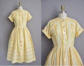 50s yellow cotton floral vintage dress / vintage 1950s dress