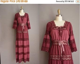 25% off SHOP SALE... 70s burgundy crochet cotton bohemian vintage dress / vintage 1970s dress
