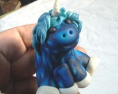 Cute Blue Extra Chubby Unicorn Pudgie