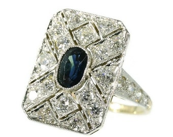 Summer Sale Diamond and sapphire Art Deco engagement ring