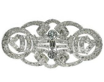 Summer Sale Platinum and Diamond Brooch Over 5 Carat Diamonds 1950's