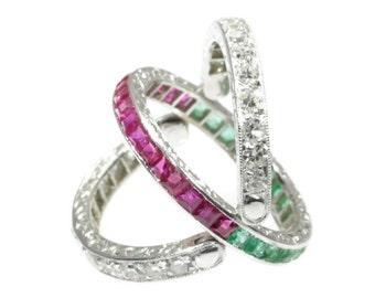 Emerald ruby diamond wedding band platinum brilliant cut diamonds .78ct Art Deco eternity band vintage ring 1930s wedding jewelry