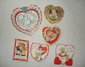 10)  Six Unused Vintage Valentine Cards