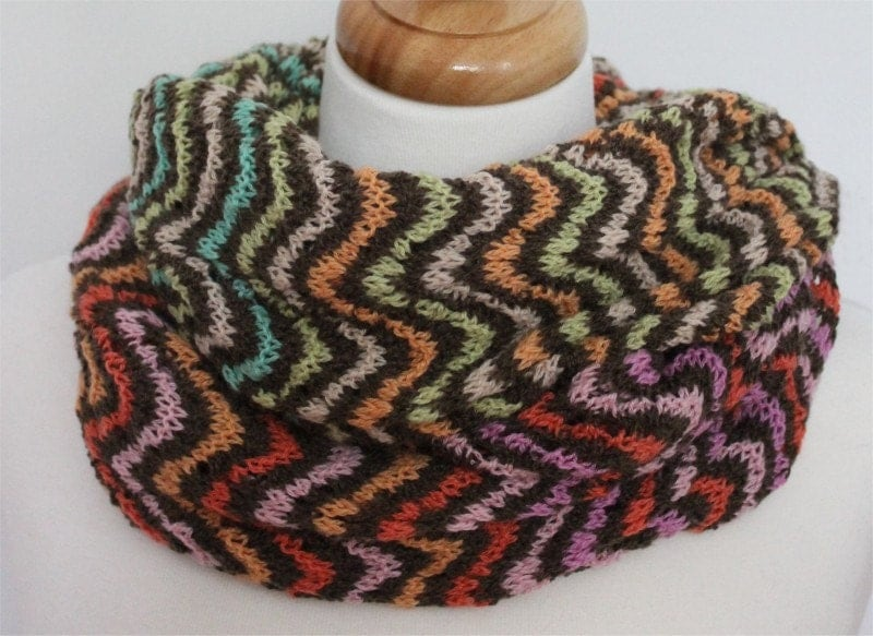 Knitting Pattern Lace Cowl : KNITTING PATTERN Colorful Lace Cowl in PDF