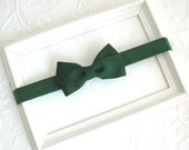 Forest Green Baby Bow Headband, Evergreen Christmas Baby Bow Headband for Newborns, Infants, Toddlers, Young Girls, Everyday Headband