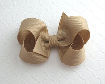 "3"" Oatmeal ~  Khaki ~ Beige Hair Bow ~ Khaki Hair Bow ~ School Uniform Hair Bow ~ Baby / Toddler Hair Bows ~ Classic Hair Bows"