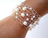 Pearl Jewelry White Pearl Bracelet Delicate White Freshwater Pearl Silver Cuff Bracelet Contemporary Modern June Birthstone Jewelry