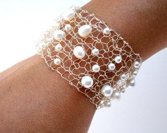 Modern Pearl Cuff Bracelet Beaded Bracelets Delicate Bracelet White Freshwater Pearl Silver Arm Cuffs Modern June Birthstone Jewelry Gift