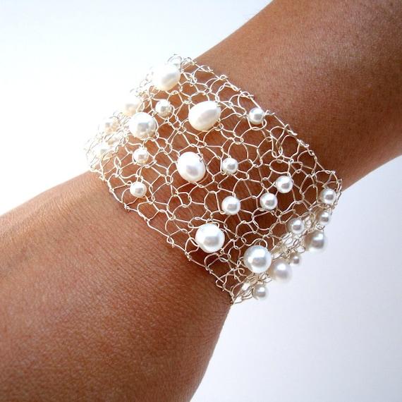 Pearl Cuff Feminine Bracelet Delicate Bracelet White Freshwater Pearl Silver Cuff Bracelet Modern June Birthstone Jewelry