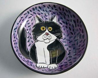 Tuxedo Cat Ceramic Feeding Dish Bowl Black White Clay Pottery Majolica Handmade  on Purple