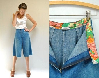 70s Denim Gauchos  //  Gaucho Pants  // APPLE JACKS