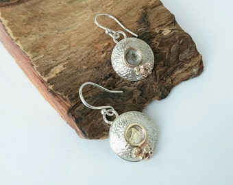 Sterling silver handmade textured drop domed earrings with 9ct gold. Hallmarked in Edinburgh