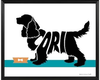 Personalized Cocker Spaniel Silhouette Print, Framed 8x10 Dog Memorial Gift, Spaniel Wall Art