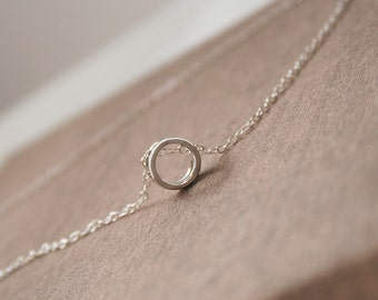 Tiny Necklace,Layered Necklace,Silver Necklace,Round Necklace,Dainty Necklace,Minimal Necklace,Bridesmaid Gift