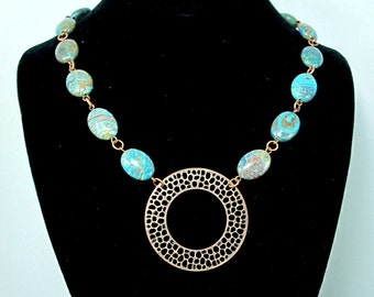 Statement Necklace with Blue Sky Jasper and Antique Copper Focal