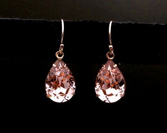 bridesmaid gift prom Swarovski vintage rose blush pink teardrop foiled crystal rhinestone  simple 14k rose gold-filled fish hook earrings