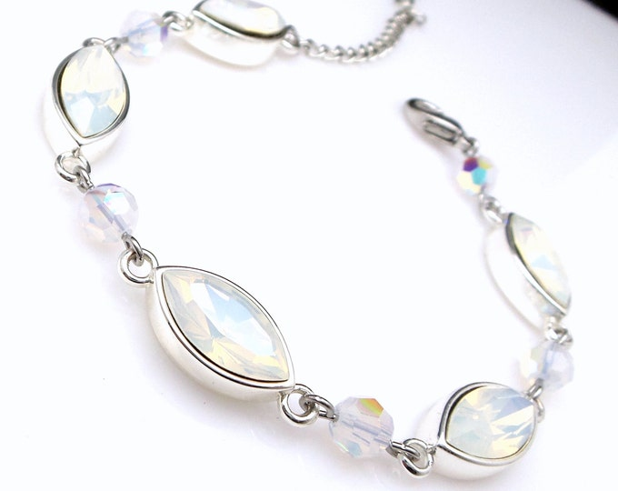Wedding jewelry bridesmaid party gift bridal silver bracelet prom pageant swarovski white opal mint marquise fancy rhinestone crystal