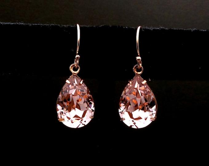 SALE Multiple Sets - 4 5 6 7 8 9 10 pairs bridesmaid vintage rose blush pink teardrop foiled crystal rhinestone 14k rose gold hook earrings