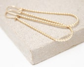 Long gold beaded hoops, drop earrings, dainty earrings, delicate earrings, gift for her, birthday gift
