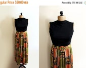 50% OFF SALE vintage dress 1970s clothing maxi black folk floral print orange green womens size small s medium m