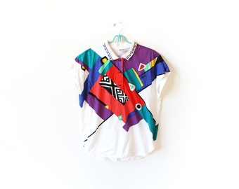 vintage shirt 80's colorful abstract athletic sportswear geometric top 1980s womens clothing size large l
