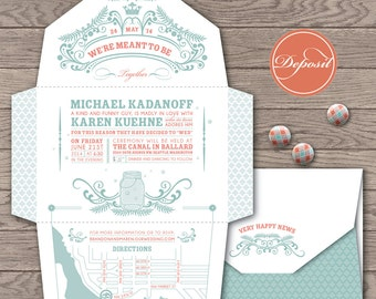 Fireflies self-mailing eco-friendly wedding invitation / Mason jar, retro pastel tone, rustic barn/ Fold and send