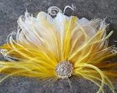 Yellow Hair Fascinator, Feather accessories.  Great Gatsby,  Wedding Hair Clip, Bridal Hair Clip, Feather Hair Clip, Feather Fascinator