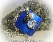 On Sale Blue Wisdom Hand Stamped Square Wire Wrapped Necklace Silver Aluminum