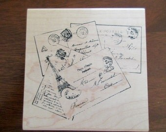 large Stampers Anonymous rubber stamp - unused, mounted on wood, postcards, Paris