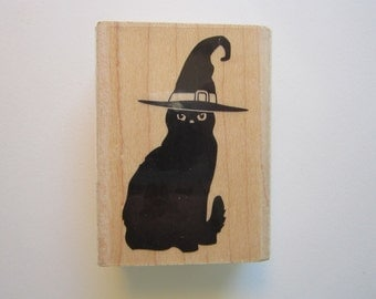 black cat rubber stamp - black cat in witch's hat - HERO ARTS rubber stamp - f5823 - gently used - halloween cat stamp