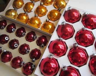 39 vintage glass ornaments - red, gold, and burgundy - 3 boxes - vintage RAUCH ornaments, glass balls
